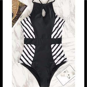 3fe24bdb60c35 Cupshe Swim - Cupshe Black and White Striped halter swimsuit